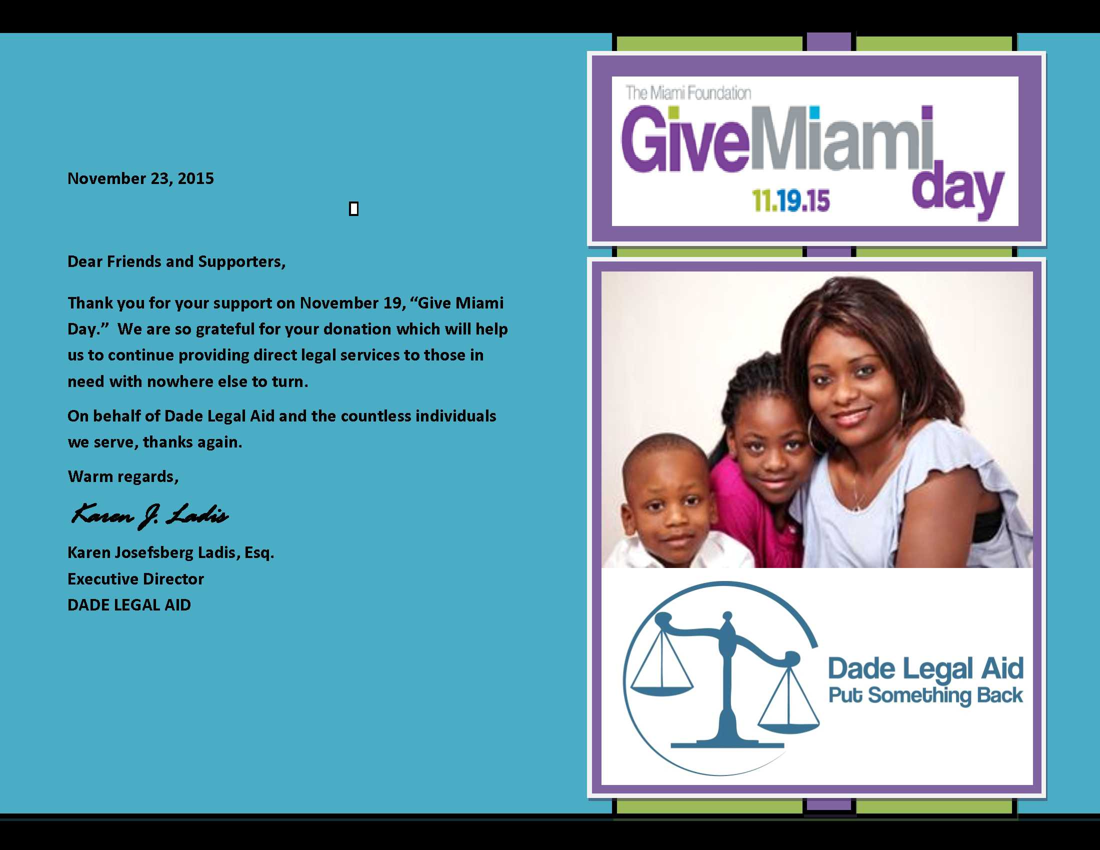 THANK YOU NOTE- Give Miami Day