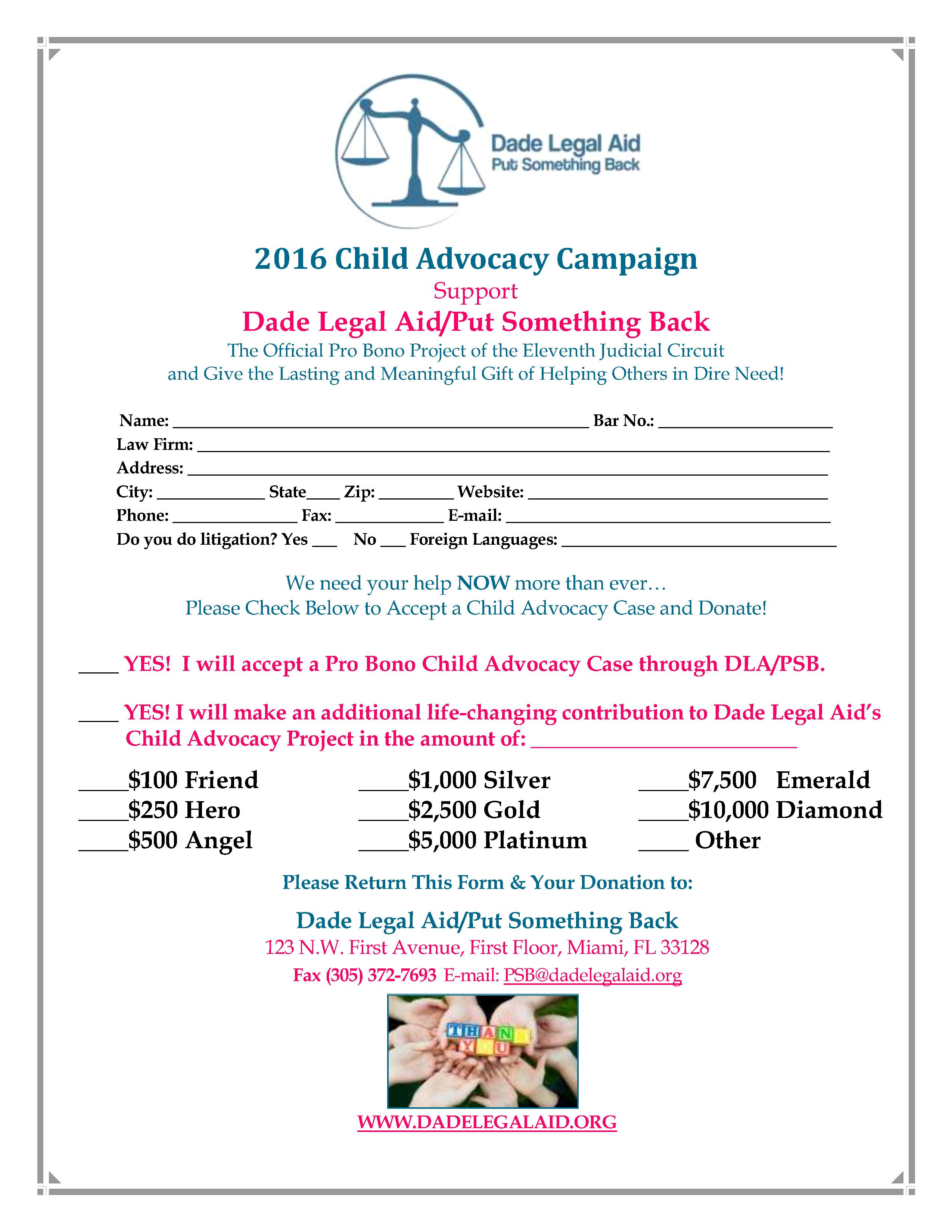 CHILD ADVOCACY LEGAL LEADERS 2016 FLYER#2
