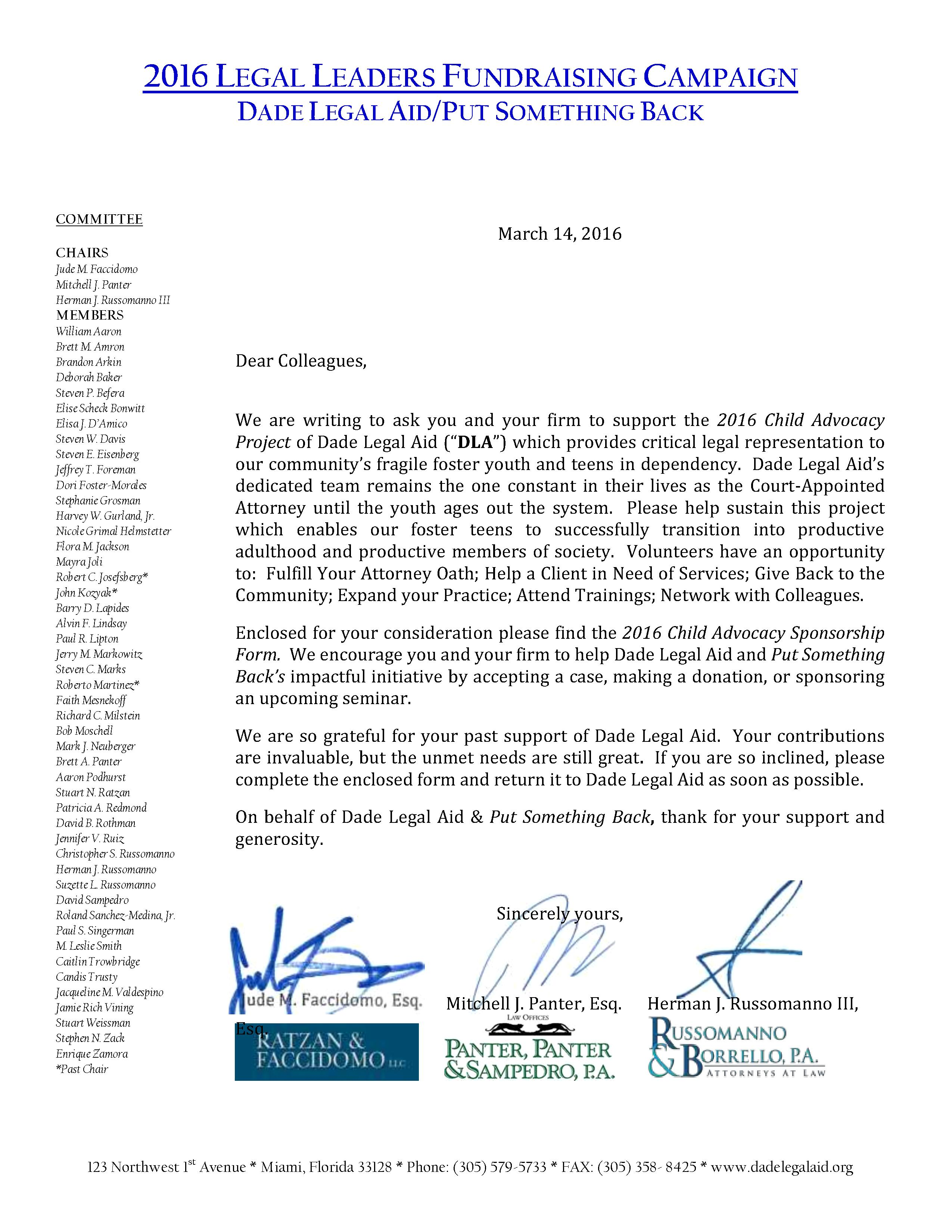 CHILD ADVOCACY LEGAL LEADERS LETTER 2016 -REVISED#2